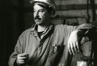 A miner in hardhat 1993 at Westoe colliery