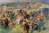 A painting showing the Blaydon Races