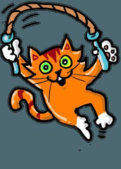 Quizicat skipping - an illustration of an orange cat