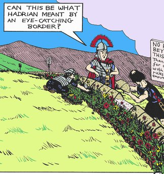 cartoon of Roman soldiers gardening at the Roman border