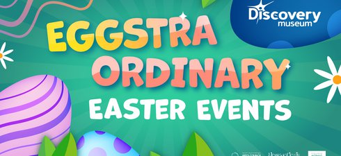 Green graphic with coloured eggs, words Eggstraordinary Easter events