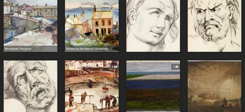 A screenshot of the Collections Dive application showing various different paintings and sketches from the Tyne & Wear collections
