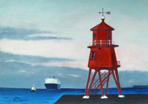 Painting of Herd Groyne Lighthouse at South Shields by Jenny Dyson