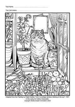 Colouring sheet of Ralph Hedley's Blinking in the Sun
