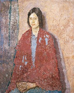 Young Woman in a Red Shawl (1917 - 1923) by Gwen John