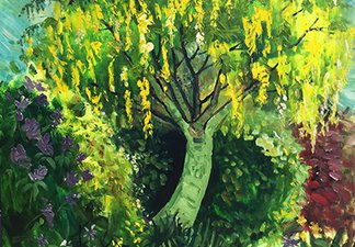 A painting of a Laburnum Tree