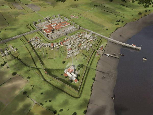 Aerial view of how the Roman fort may have looked