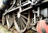 Wheels and lower section of a steam train