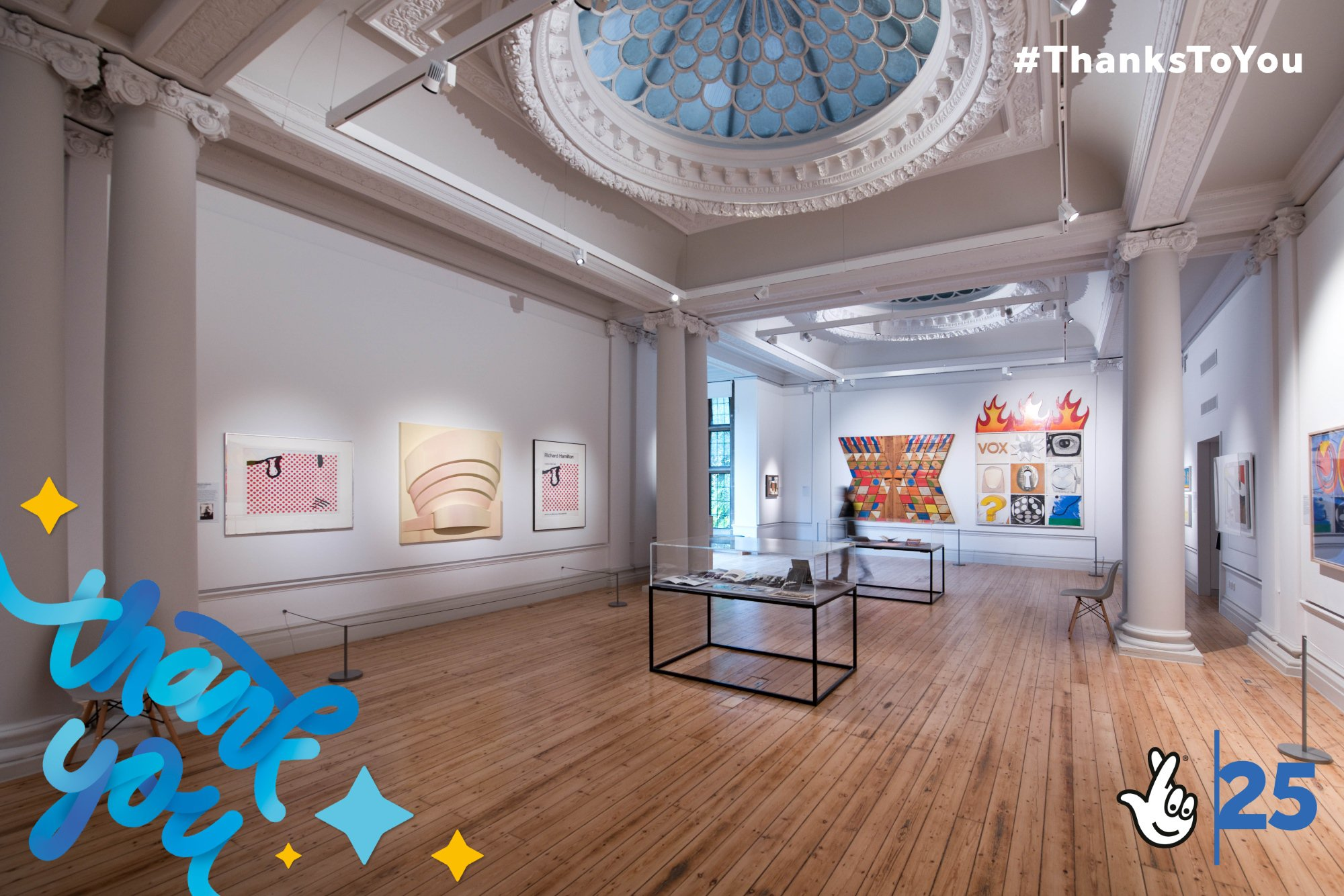 Interior view of the Hatton Gallery, showing 'pop' artworks hung on the walls