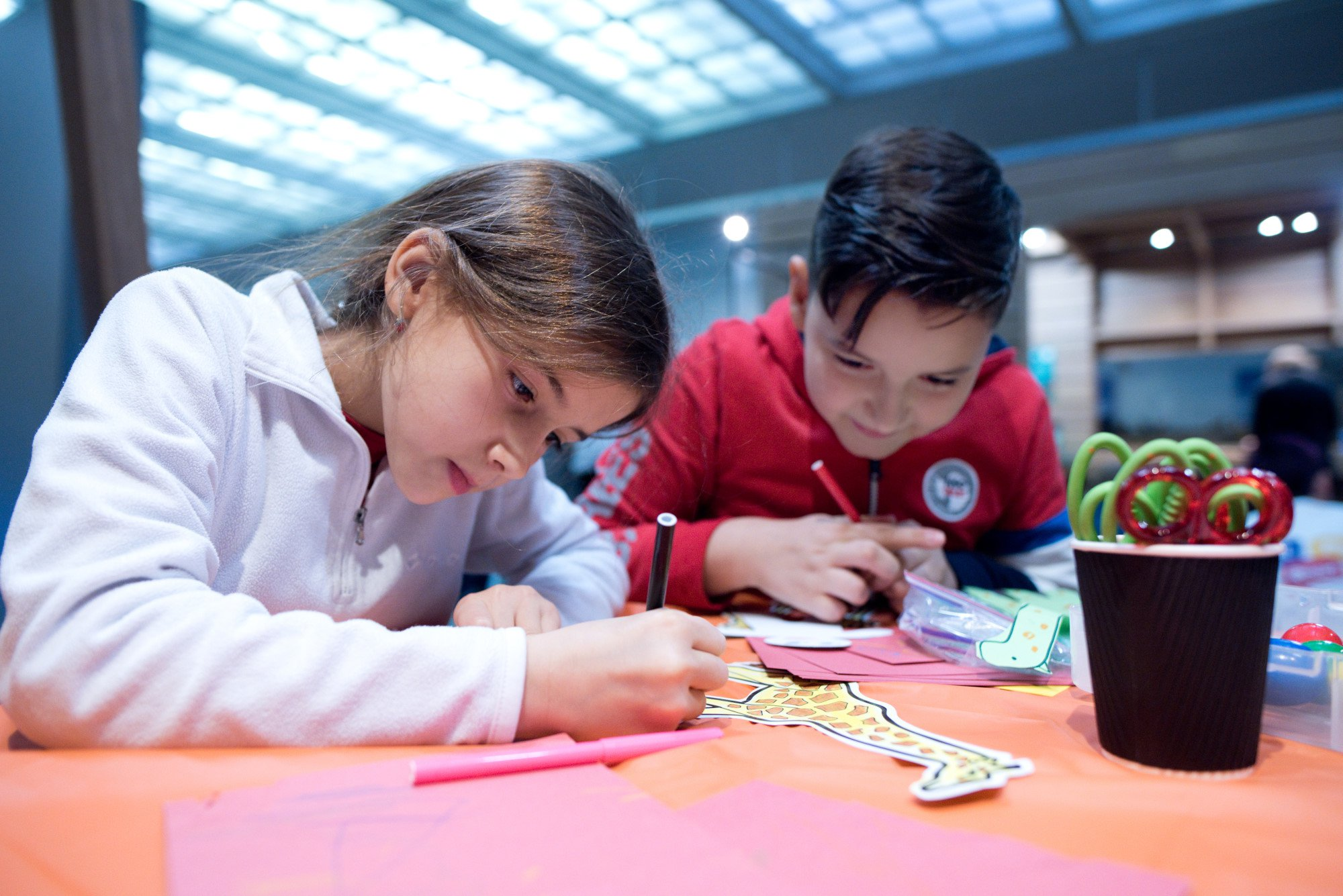 A young girl and young boy enjoy a colouring activity at the Great North Museum