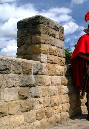 Roman soldier at the reconstructed Wall at segedunum