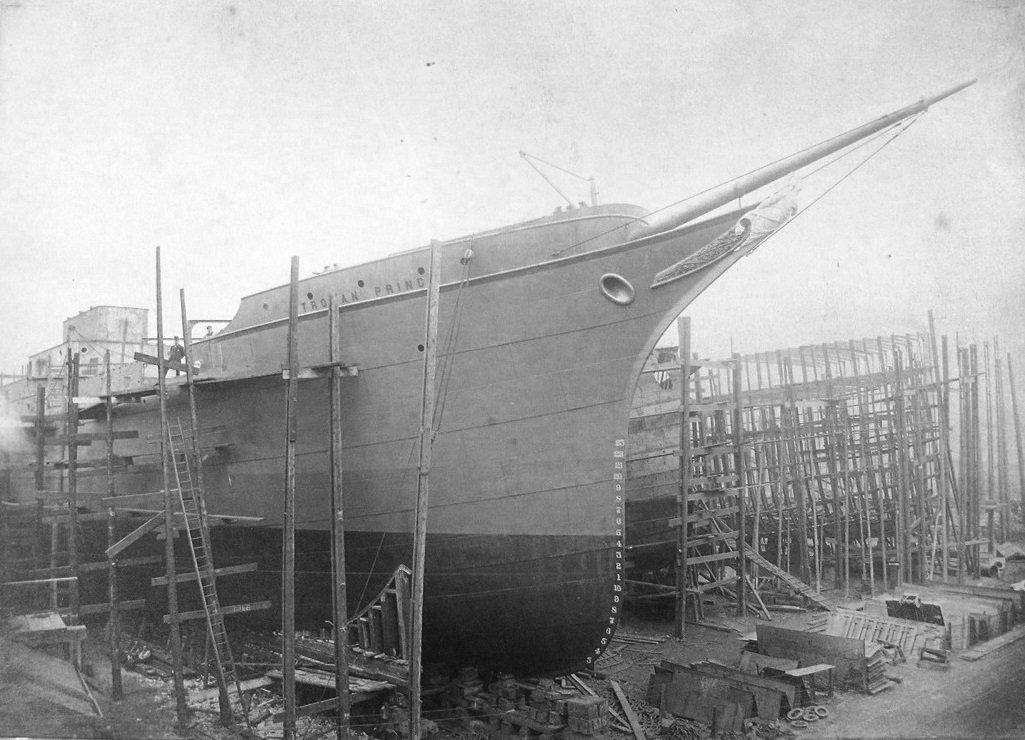 Starboard bow view of SS Trojan Prince, John Readhead's & Sons,1896