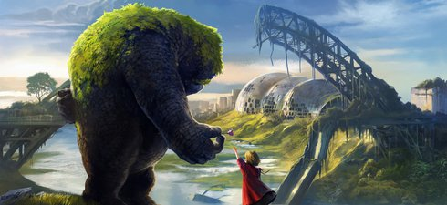 A fantasy scene from The Realm, featuring the character Toro, a golem, and Sarina, a young girl