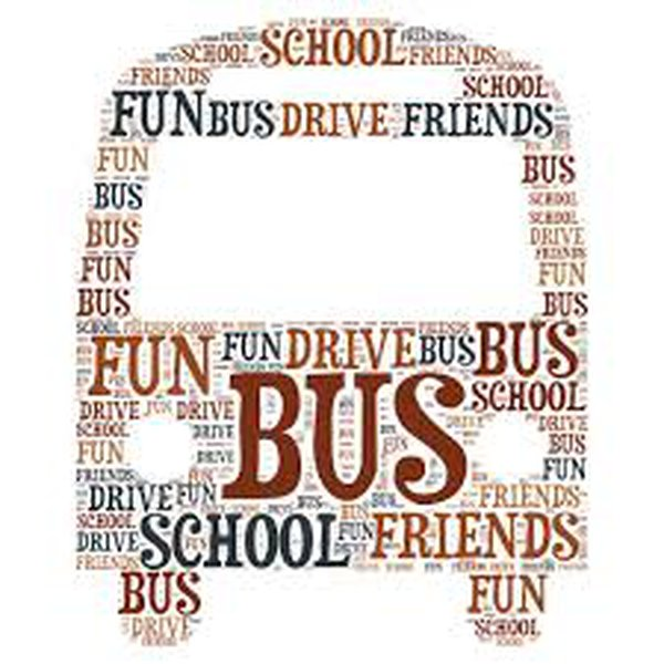 Image of a bus made from words, including 'school', 'bus', 'friends'