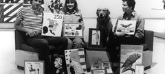 Black and White photograph of Blue Peter presenters, 1982
