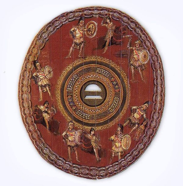 Decorated oval shield