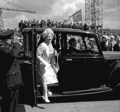View of the Queen Mother arriving at the Walker Naval Yard, Newcastle upon Tyne for the launch of the passenger ship 'Northern Star', 27 June 1961 (TWAM ref. DT.TUR/2/26948R).