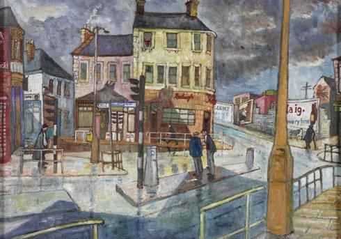 Watercolour of gateshead streets
