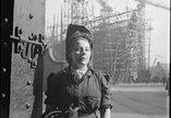 Women in welding visor at shipyard WWII