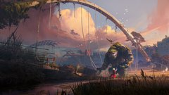Digital painting showing apocalyptic scene of NewcastleGateshead quayside. A girl offers a rose to a large stone golem
