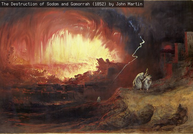 Painting, oil on canvas, entitled 'The Destruction of Sodom and Gomorrah', by the artist John Martin