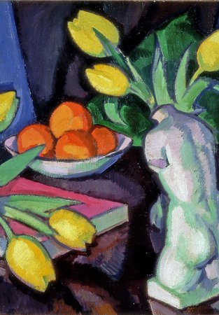 Yellow tulips and statuette (1920-27) by Samuel Peploe