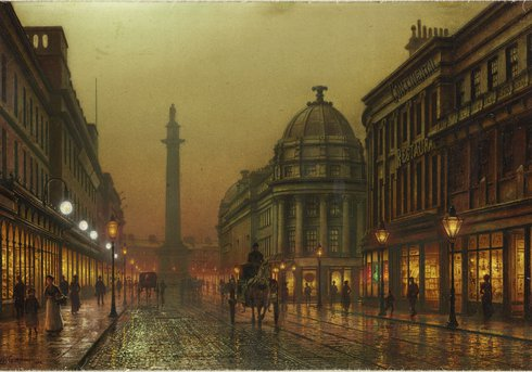 Grainger Street, Newcastle upon Tyne', by the artist Louis H. Grimshaw