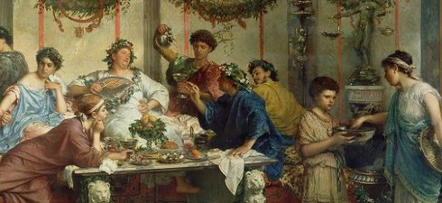 A painting of people at a feast