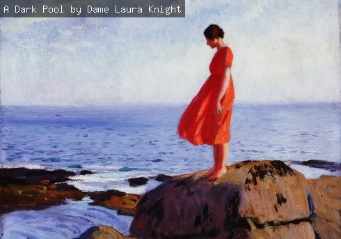 A painting of a girl standing on the edge of a rock pool, entitled 'A Dark Pool' by the artist Dame Laura Knight