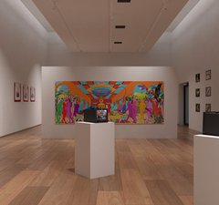 A 3d render of the Hattong Gallery virtual exhibition