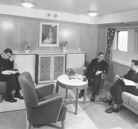 Officers' smoking room on the tanker 'Aluco'