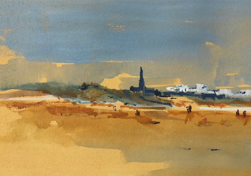 Painted view of Longsands beach in Tynemouth