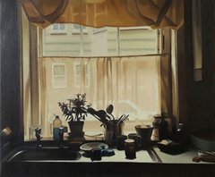 Painting of a kitchen window, with sink taps and a sheer curtain covering the window