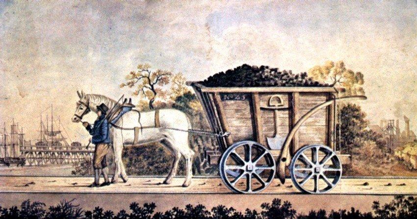 Horse-drawn waggon on waggonway