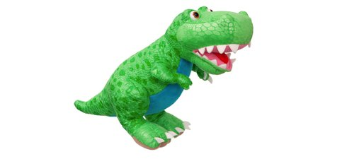 A green Tyrannosaurus rex soft toy