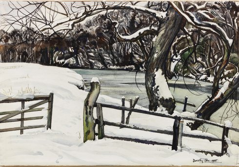 River Banks in Winter, Warkworth', 1955, by Dorothy Carr