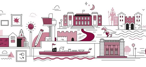 An image showing illustrations depicting Tyne & Wear Archives & Museums venues