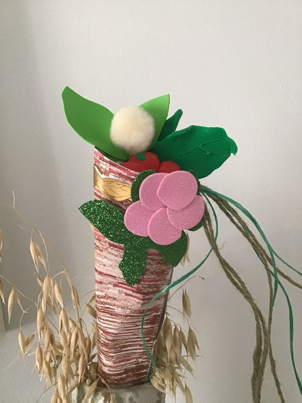 Cornucopia with paper flowers and pompoms