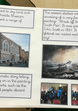 A children's note book including images and writing of a day at the museum.