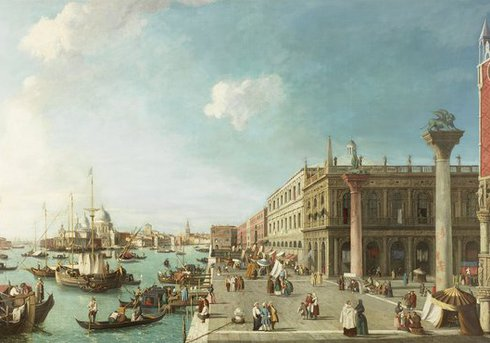 'The Molo, Venice, Looking West, in the style of the artist Antonio Canaletto