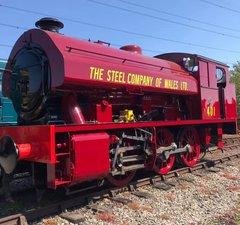 Red locomotive 401