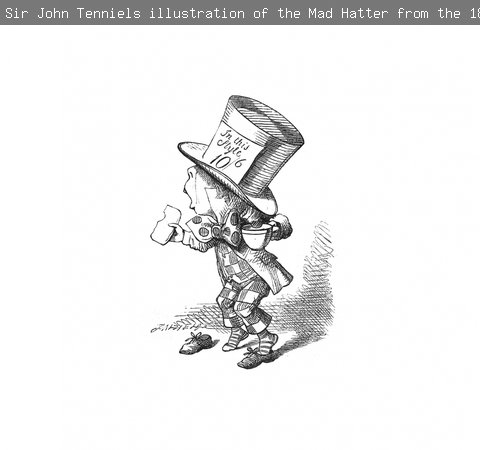 A black and white illustration of the Mad Hatter from Alice in Wonderland, by John Tenniel