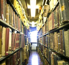 Books on shelves in the Archives