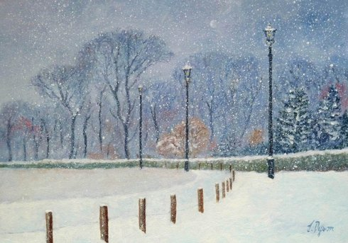 A painted snowy scene with old lamposts and trees in the background.