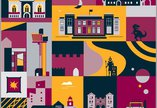 Illustrations of museum and gallery buildings, a T rex, Billy the steam Engine - all in bright orange, magenta and dark blue ,