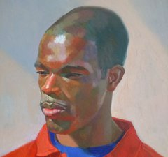 A painting of a Black man wearing a red shirt, and a blue t-shirt underneath. He is looking slightly off to the side.
