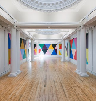 Installation photograph of an exhibition at Hatton Gallery called Lothar Goetz: Fairground Abstract
