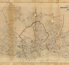 Black on beige map of Newcaste-upon-tyne from 1940