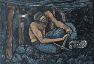 painting of miner hewing coal underground