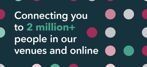 graphic showing coloured dots and the words Connecting you to 2 million people in our venues and online
